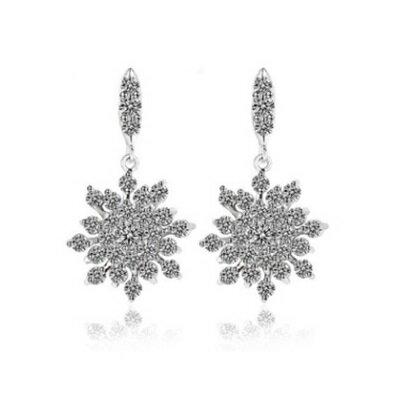 純銀耳環鍍白金鑲鑽耳飾~ 精緻奢華雪絨花情人節生日 女飾品73cr67~ ~~米蘭 ~ ~