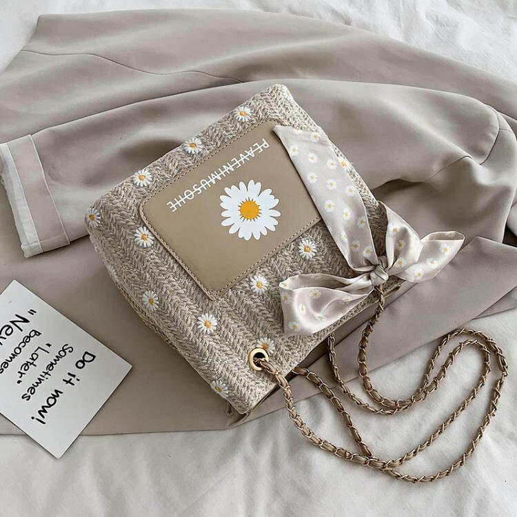 【快速出貨】夏天小包包2020新款潮網紅時尚編織鏈條斜挎包洋氣百搭ins草編包 聖誕交換禮物