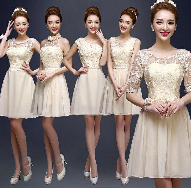 天使嫁衣~BADL1015~香檳色6款氣質高雅伴娘短禮服˙下架