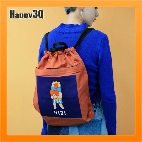 束口包雙肩包後背包抽繩包包可愛塗鴉風國王拳擊帆布包-橘黑藍【AAA4464】