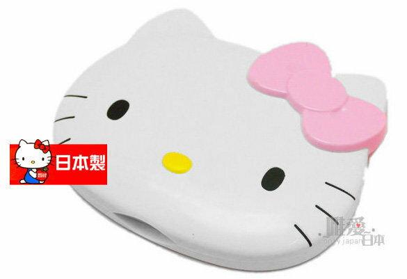 【真愛日本】5091700044 日本製臉型鏡梳組-大臉粉結 三麗鷗 Kitty 凱蒂貓 隨身鏡 梳子 日本帶回