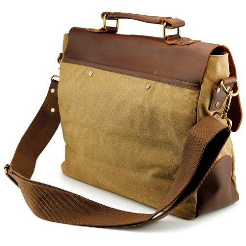 Men's Vintage Canvas Leather Satchel School Military Messenger Shoulder Bag Travel Bag - Khaki 2