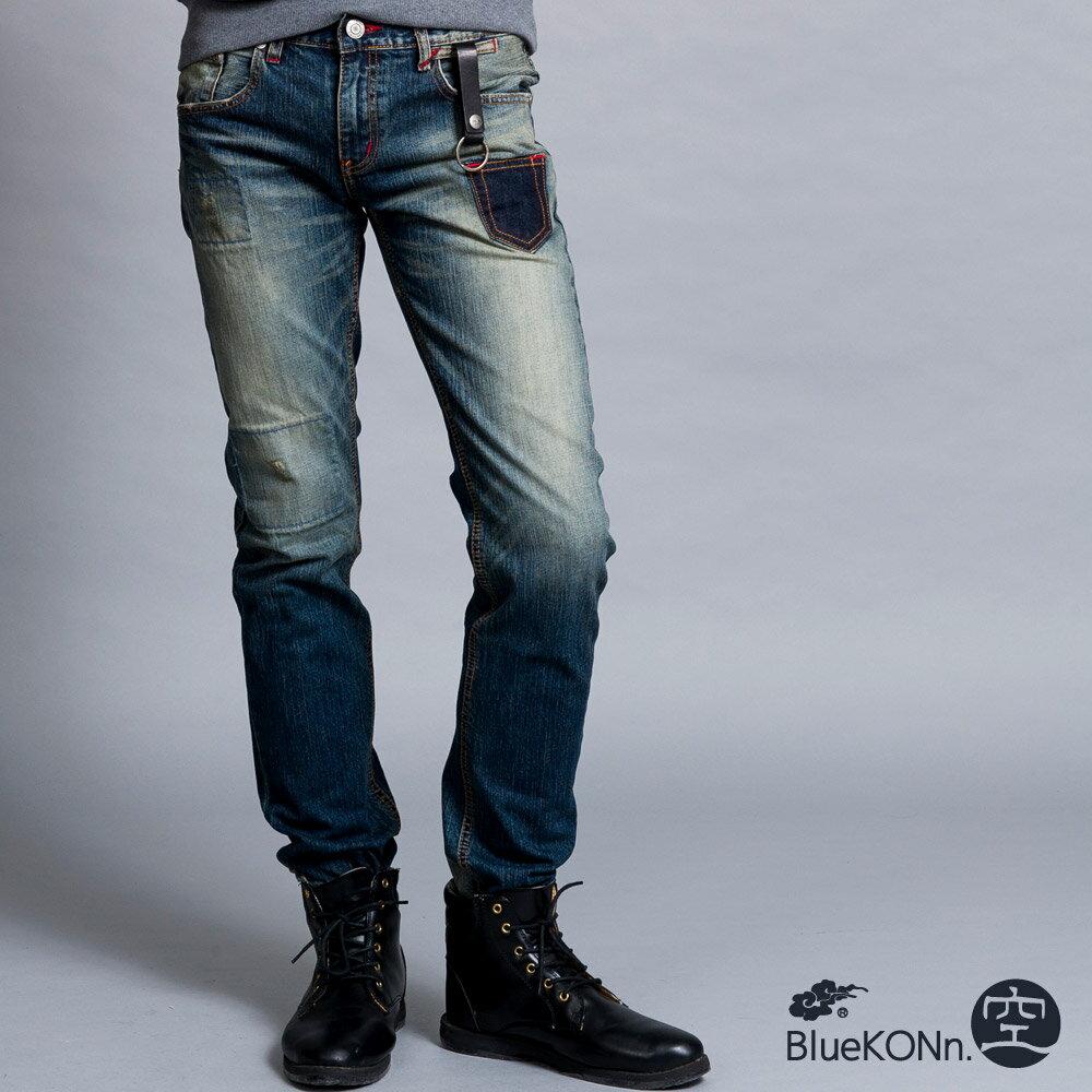 BlueKONn.  復古口袋中低腰直筒褲(深藍) 0