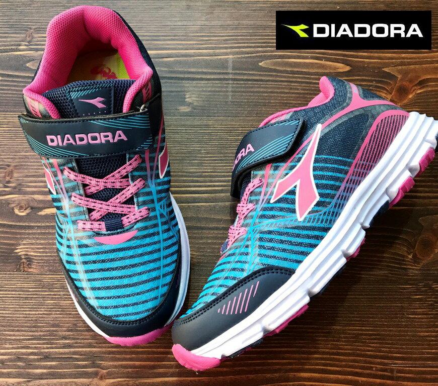 【剪標品出清-22.5號】義大利國寶鞋-DIADORA迪亞多納 童款條紋輕量運動慢跑鞋