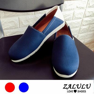 ZALULU愛鞋館M6108現貨台灣MIT雙色搭配平底圓頭包鞋-藍紅-36-40