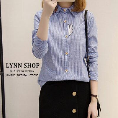 長袖襯衫 兔子刺繡條紋長袖襯衫 M~XL【S-17-0012】LYNNSHOP