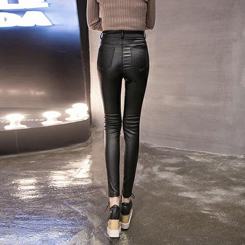 韓版高腰加絨加厚PU皮褲(黑色S~3XL) 【OREAD】 1