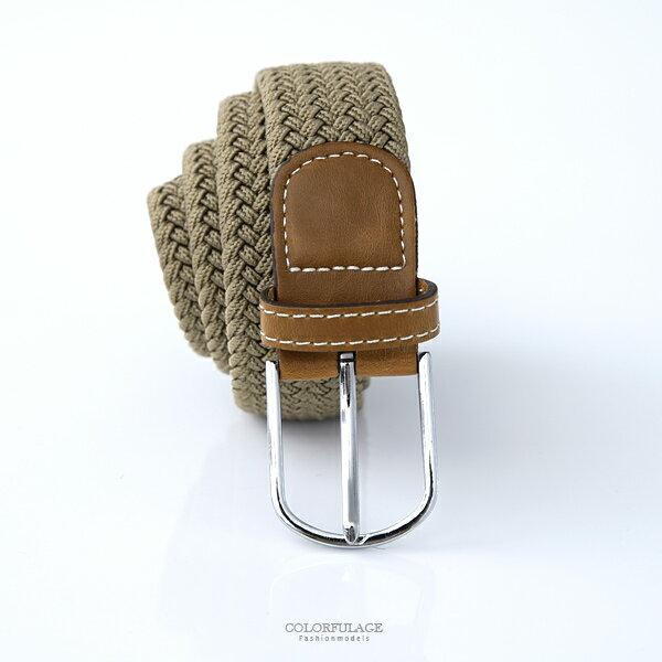 皮帶 居家型男風卡其帆布腰帶【NK121】柒彩年代