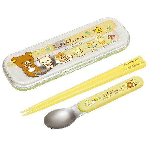 【真愛日本】4974413677370 二件式餐具組-懶熊鬆餅  SAN-X 懶熊 奶熊 拉拉熊 餐具組 環保餐具