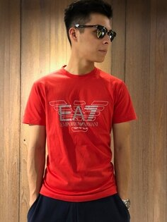 美國百分百【全新真品】EmporioArmaniEA7圓領短袖T恤logoT-shirt紅色J064