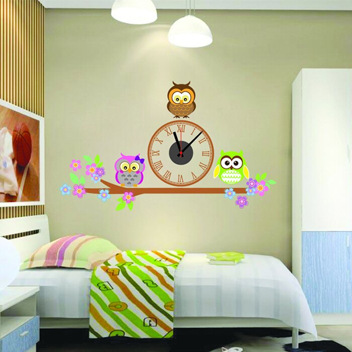 時鐘壁貼 創意無痕壁貼 三隻貓頭鷹【YV6340】快樂生活網