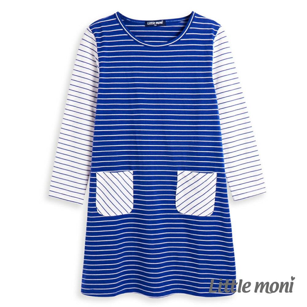 Little moni條紋撞色拼接洋裝-皇家藍(好窩生活節) - 限時優惠好康折扣