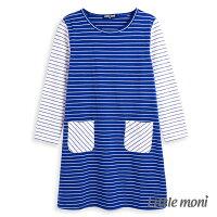 婦嬰用品-童裝推薦Little moni條紋撞色拼接洋裝-皇家藍(好窩生活節)。就在麗嬰房婦嬰用品-童裝推薦