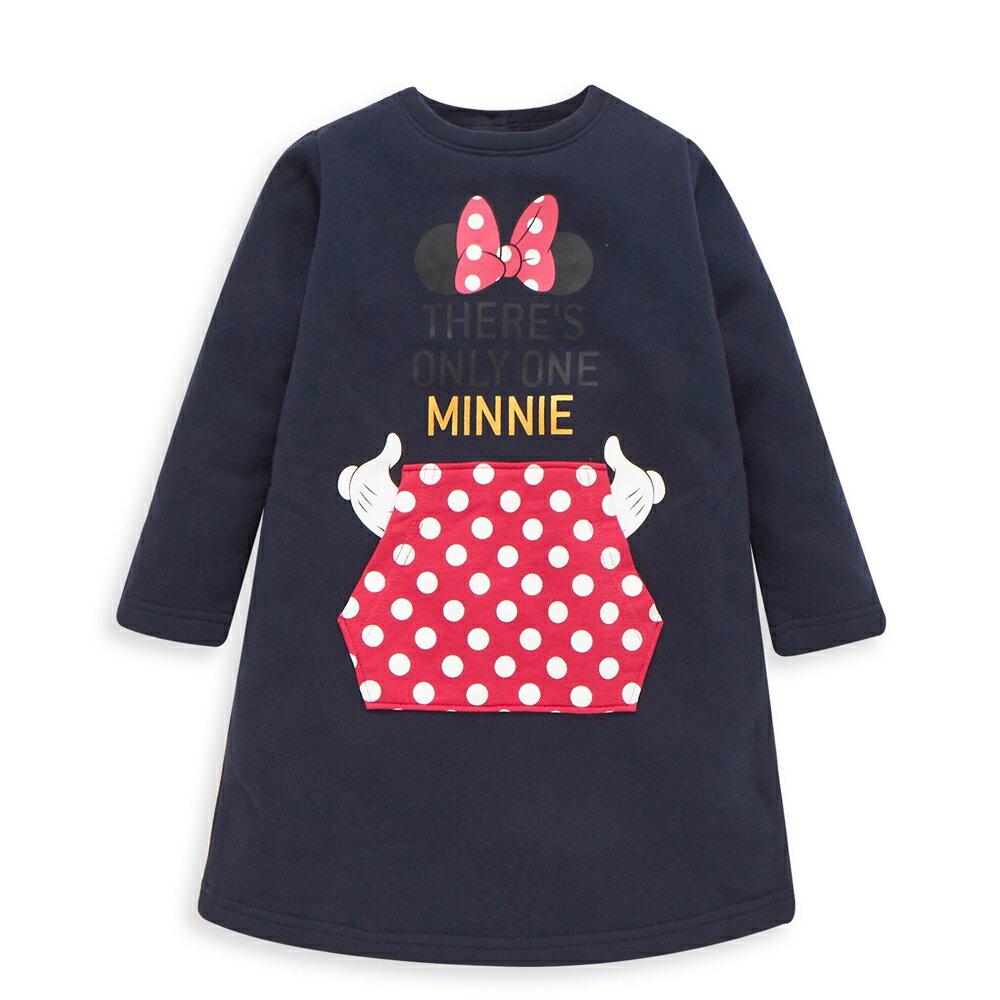 Disney 米妮系列淘氣口袋刷毛洋裝-深藍