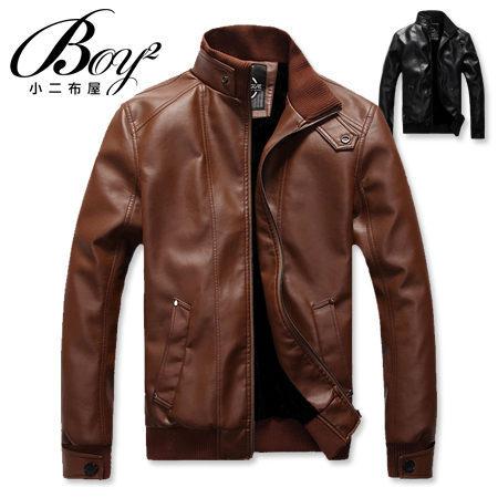 ☆BOY-2☆【NZ78015】軍裝皮衣外套素面羅紋 0