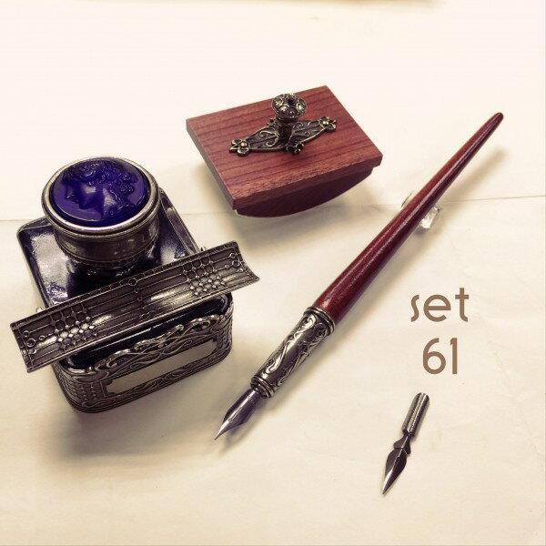 義大利 Bortoletti set61 沾水筆+黑色墨水+壓墨器 組合 21501168457943 / 組