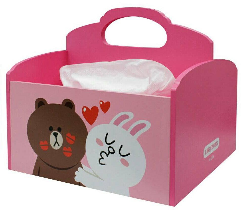 【UNIPRO】LINE FRIENDS 熊大 兔兔 KISS 木製 手提面紙收納盒 面紙盒 正版授權 BROWN CONNY