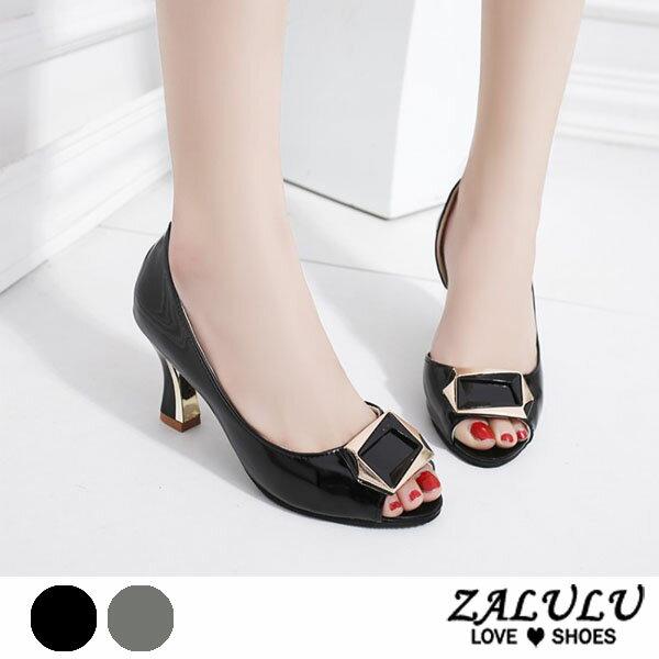 ZALULU愛鞋館7EE041預購名媛上流美高跟魚口美形跟鞋-黑灰-35-40
