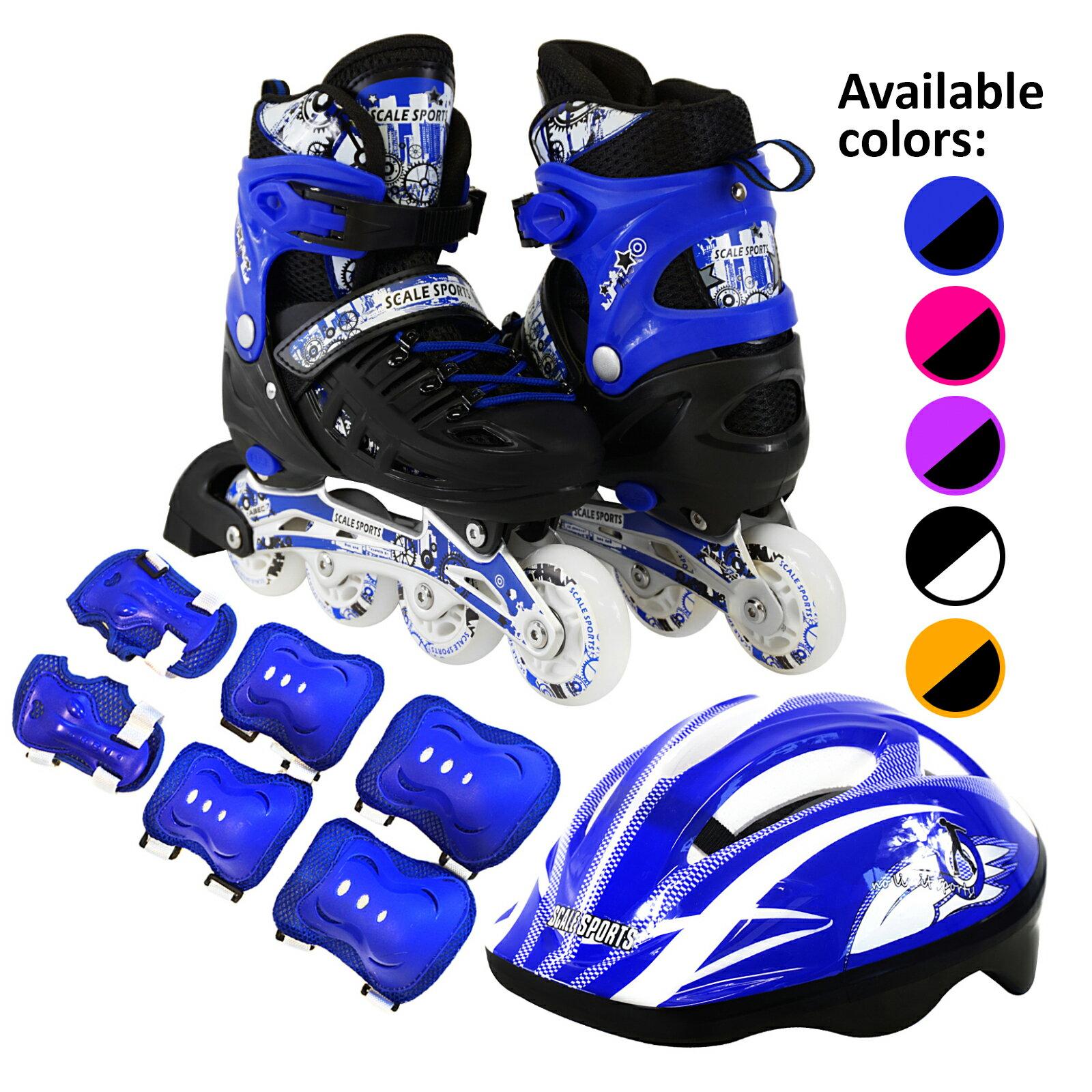 ac2c1e167d3 Scale Sports Kids Inline Skates Combo Set 6 PCS Protective Gear Helmet  Durable Safe Outdoor Roller