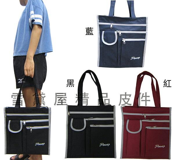 ~雪黛屋~Percy肩背提袋大容量可放A4資料夾台灣製造購物袋才藝袋手提上學書包以外放置教具用品雨衣雨傘便當#7743