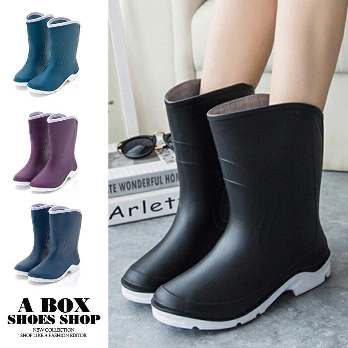 【AR1701】時尚18CM中筒雨靴/雨鞋 超防水橡膠PVC 晴雨兩穿 舒適2CM低粗跟 4色