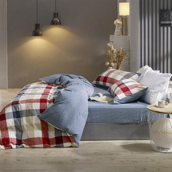 床包兩用被套組雙人加大色織水洗棉英格蘭[鴻宇]台灣製2115