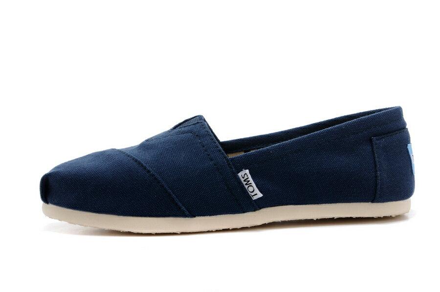 【TOMS】藍色素面基本款休閒鞋  Navy Canvas Women's Classics 2