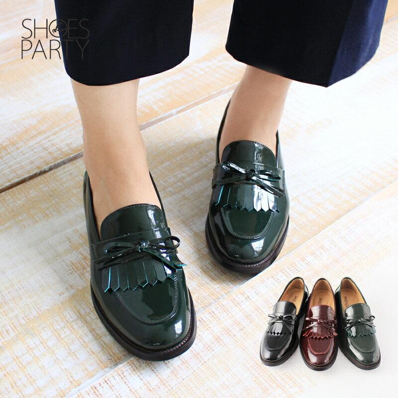 馬上出貨【F2-17912L】真皮鏡面流蘇樂福鞋_Shoes Party 0