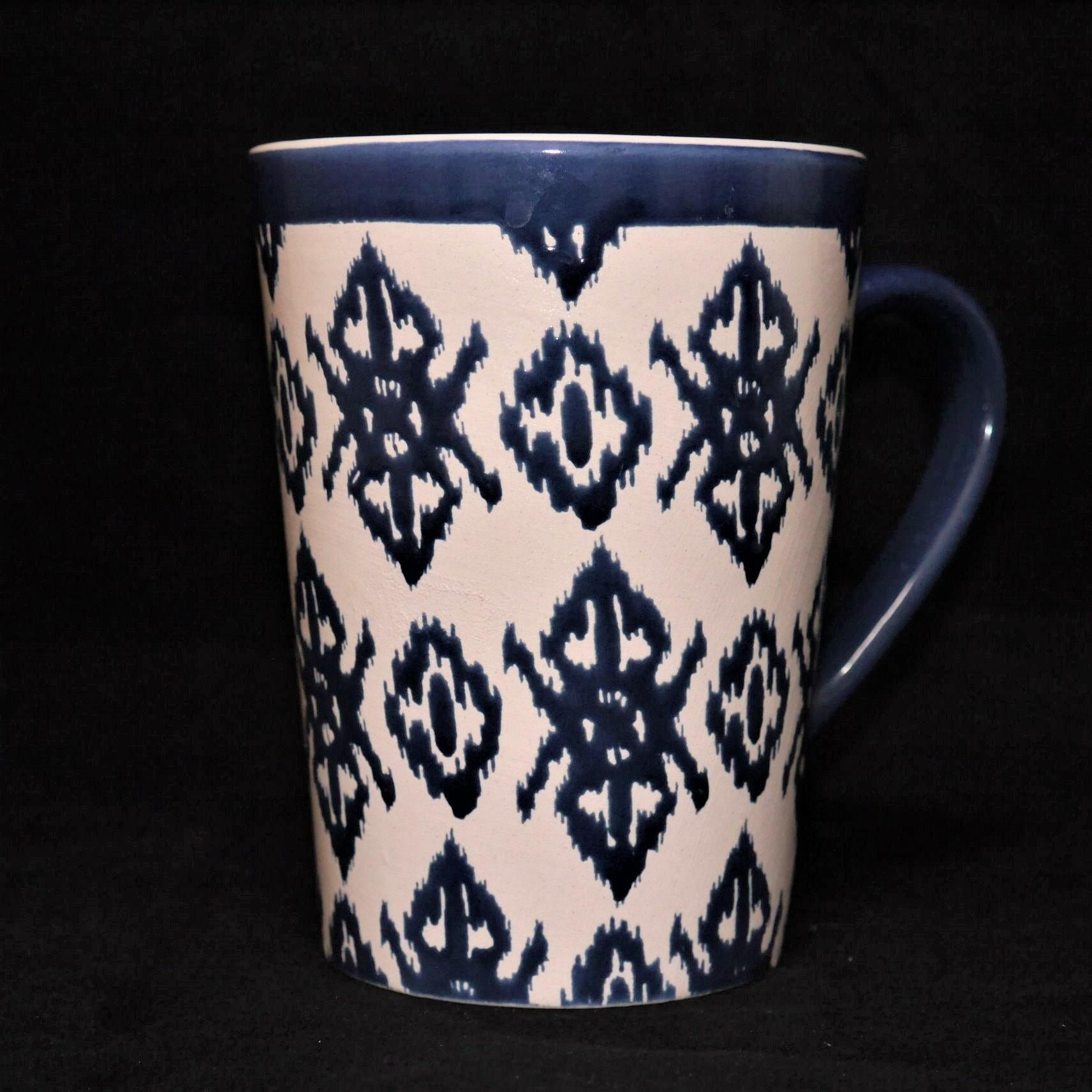 馬克杯藍色幾何紋500ml【曉風】 0