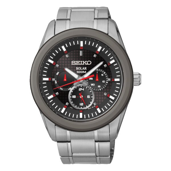 Seiko Spirit V14J-0CD0R(SNE347P1)日曆三環太陽能腕錶/黑面42mm