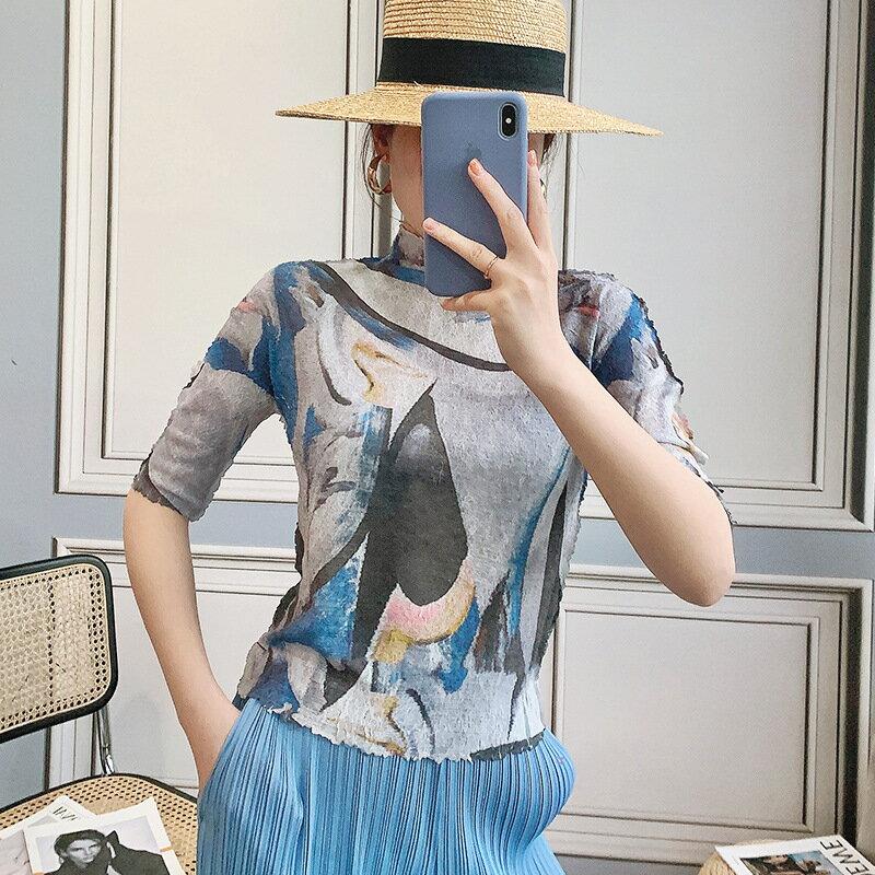 五分袖T恤高彈力上衣-印花兩面穿高領褶皺女裝2色73zs40【獨家進口】【米蘭精品】