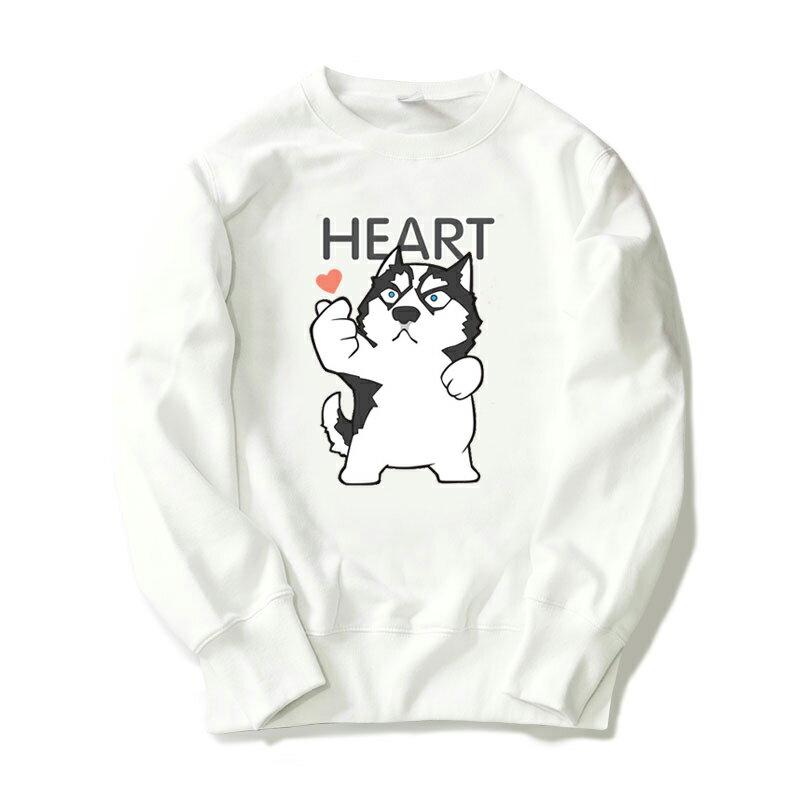 ◆快速出貨◆刷毛T恤 圓領刷毛 連帽T恤 情侶T恤 暖暖刷毛 MIT台灣製 【YS0876】刷毛 合體貓狗手指HEART 艾咪E舖 6