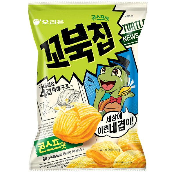 糖果王:韓國Orion好麗友烏龜玉米脆片餅乾四層酥脆口感