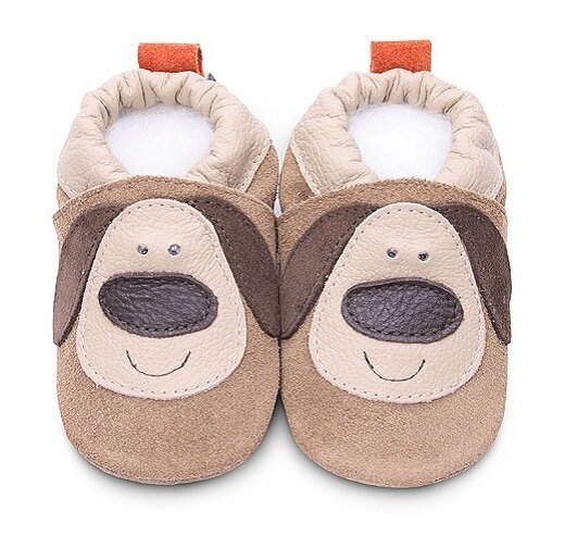 【HELLA 媽咪寶貝】英國 shooshoos 安全無毒真皮手工鞋/學步鞋/嬰兒鞋_麂皮小狗狗(公司貨)