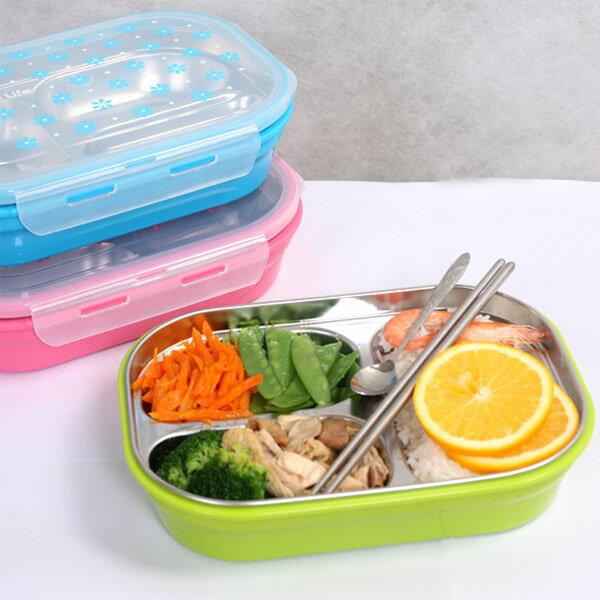 BO雜貨:BO雜貨【SV8215】304不鏽鋼三格餐盒1.1L保溫飯盒便當盒防燙餐盤盒學生飯盒分格密封保溫飯盒