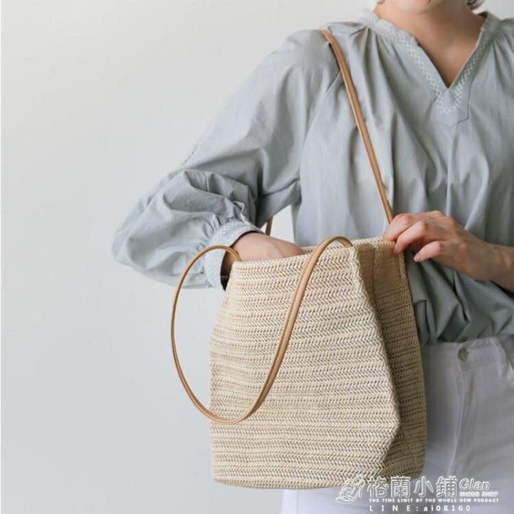 編織包 草編包包女包夏天小清晰新款百搭編織包側背包沙灘包 手提包