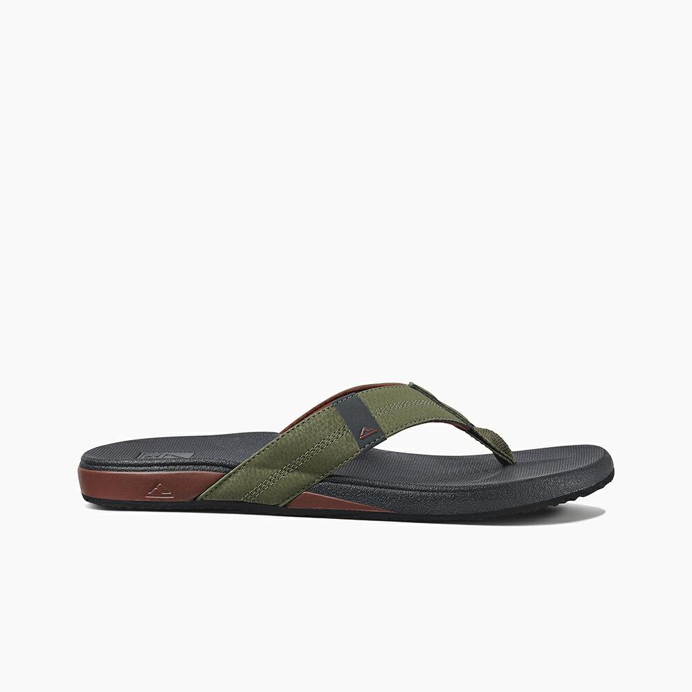 【新品上市】REEF 能量彈力 側邊縫製織帶 男款夾腳人字拖鞋 . 綠 / 紅 RF0A3FDIORE 2
