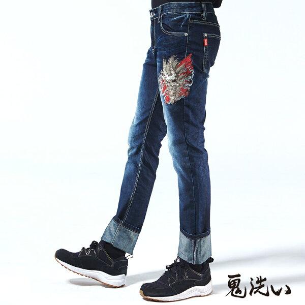 【春夏新品】雲煙爆裂鬼頭低腰微彈直筒褲-BLUEWAYONIARAI鬼洗