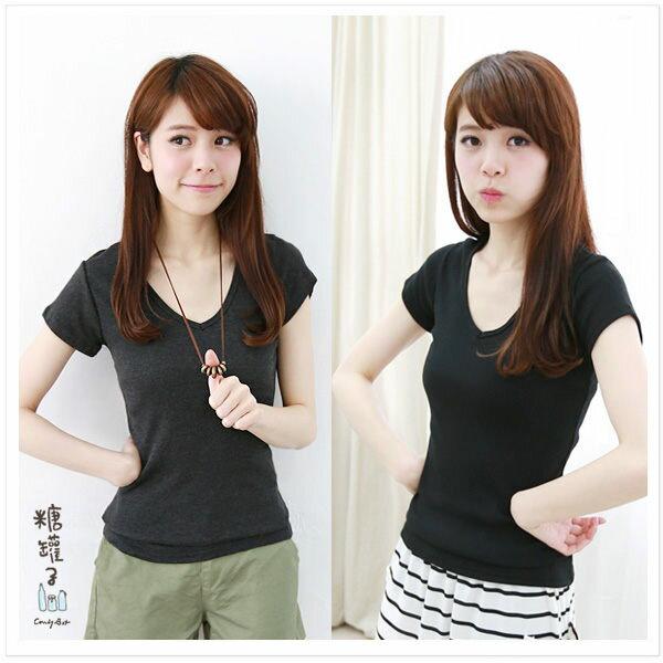 糖罐子純色V領羅紋棉衫→預購【E31260】 3