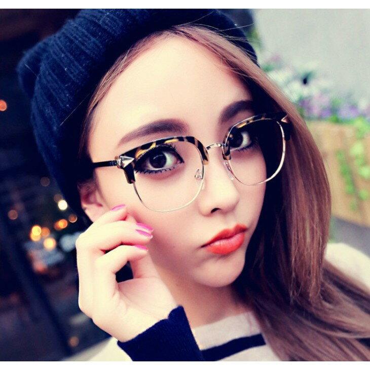 小復古黑框眼鏡半框 黑框男鏡框 潮流女明星款全框眼鏡架 文藝斯文平光鏡(箭頭款)男女可戴