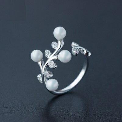 925純銀戒指珍珠開口戒~奢華璀璨樹枝 生日情人節 女飾品73dt145~ ~~米蘭 ~
