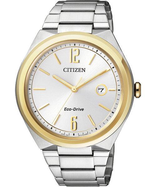 CITIZEN星辰AW1374-51A雙色大三針光動能男錶/白面41mm