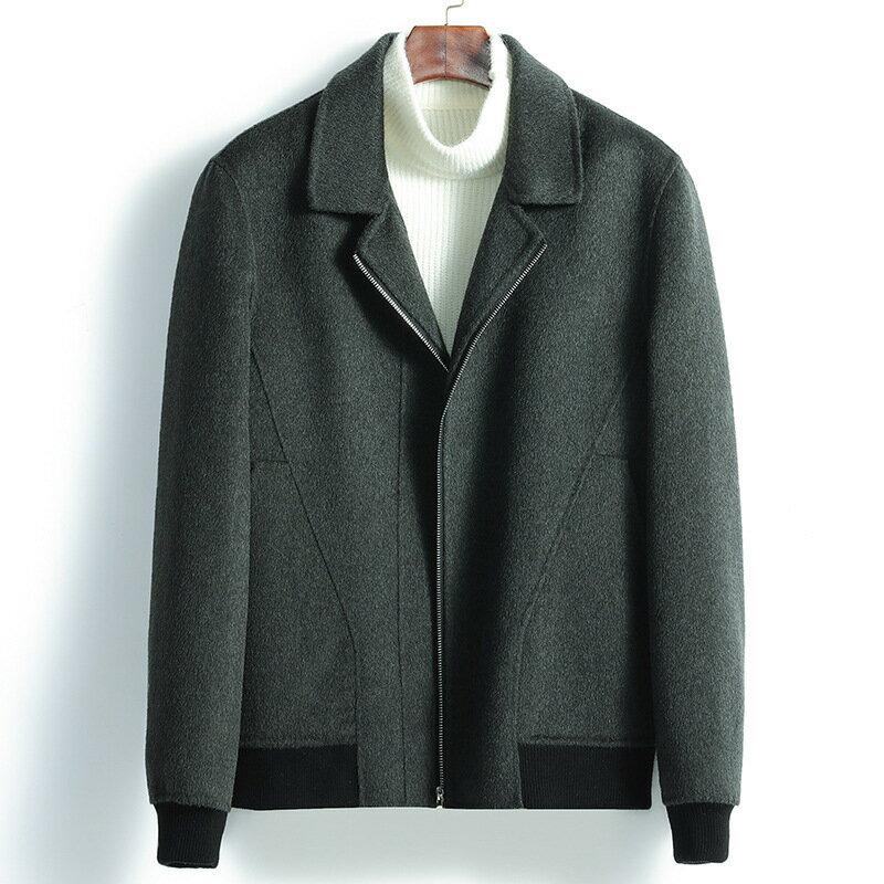 毛呢大衣短款夾克-翻領休閒修身羊毛男外套3色73wk33【獨家進口】【米蘭精品】 1