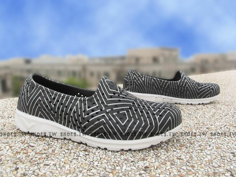 《下殺5折》Shoestw【62K1SA61BK】PONY TROPIC 水鞋 童鞋 軟Q 防水 洞洞鞋 黑銀線 中童鞋