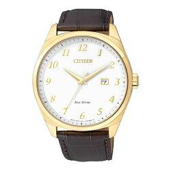 CITIZEN 時尚風格光動能腕錶/金x皮帶/BM7322-06A