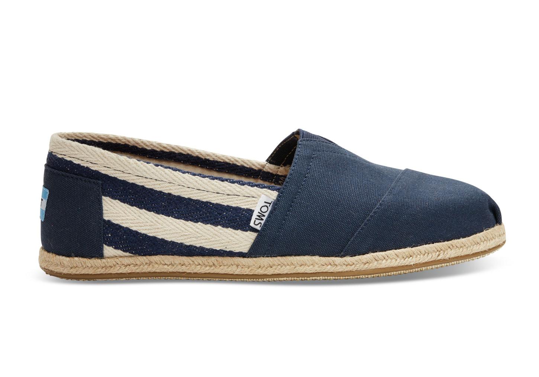 【TOMS】藍色寬條紋學院風平底鞋 Navy Stripe University Women's Clssics【全店免運】 2