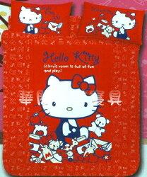 *華閣床墊寢具*《Hello Kitty.我的遊戲房-紅》雙人加大床包組【床包+枕套*2】三麗鷗授權 台灣製