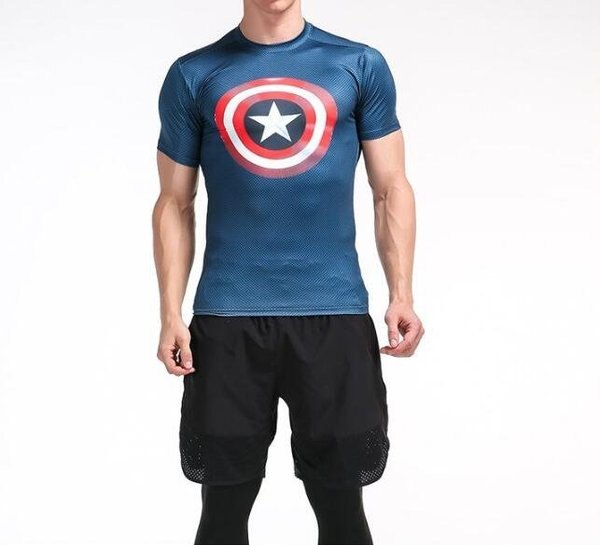 FINDSENSEMD日系時尚男胸前星星標誌高彈力緊身運動短T訓練服跑步健身T恤3D圖案短袖T恤