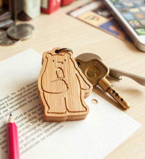 幸福森林.竹製可愛動物鑰匙圈 客製化禮物 北極熊寶貝