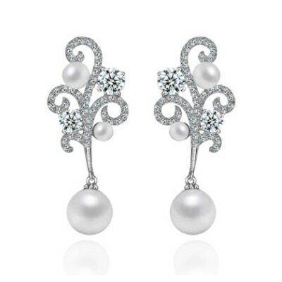 ~純銀耳環鍍白金鑲鑽耳飾~氣質高貴奢華特別生日情人節 女飾品73cr126~ ~~米蘭 ~